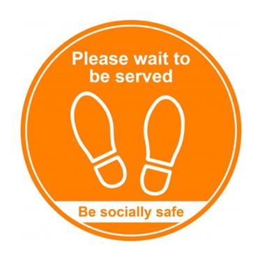 "Citec STP002 ""PLEASE WAIT TO BE SERVED"" Floor Sign - Amber 400m"