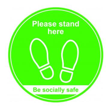 "Citec STP003 ""PLEASE STAND HERE"" Floor Sign - Green 400m"