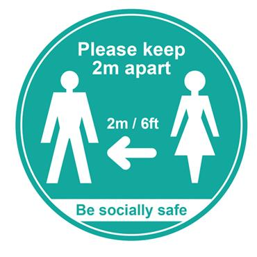 "CITEC ""PLEASE KEEP 2M APART"" Floor Signs- Various Colours available - 400m"