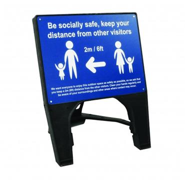 "Citec  ""BE SOCIALLY SAFE"" Q Sign - Blue"