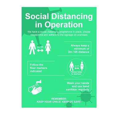 """Citec SPT130 """"SOCIAL DISTANCING IN OPERATION"""" Sign FMX 600 x 800mm"""