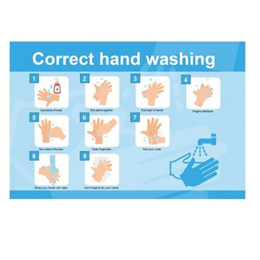 "Citec STP135 ""CORRECT HAND WASHING"" Sign RPVC 600 x 400mm"