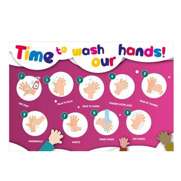 """Citec STP136 """" TIME TO WASH OUR HANDS"""" Sign RPVC 600 x 400mm"""