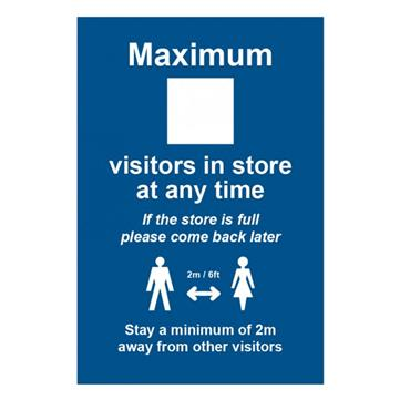 "Citec ""MAXIMUM X VISTORS IN STORE"" SIgn RPVS 200 x 300mm"