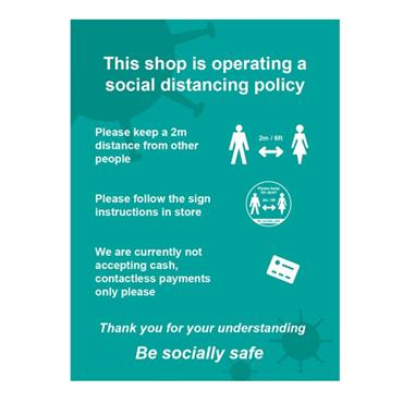"Citec ""THIS SHOP IS OPERATING A SOCIAL DISTANCING POLICY"" A SIgn  300 x 400mm"