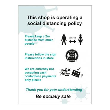 """Citec """"THIS SHOP IS OPERATING A SOCIAL DISTANCING POLICY"""" B SIgn 300 x 400mm"""