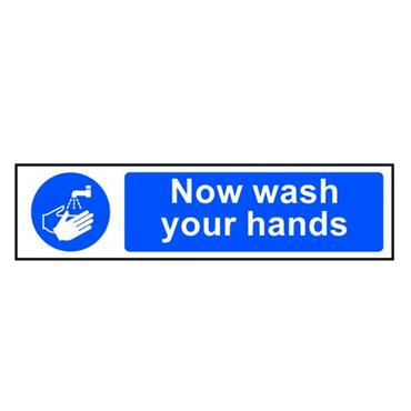 "CITEC 11484 "" NOW WASH YOUR HANDS"" SAV 600 x 200mm"