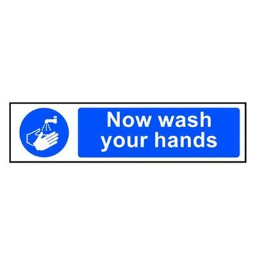 "Citec 11480 ""NOW WASH YOUR HANDS"" SAV 300 x 100mm"