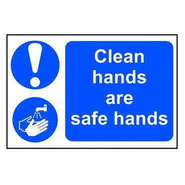 "Citec 0421 ""CLEAN HANDS ARE SAFE HANDS"" PVC 300 x 200mm"