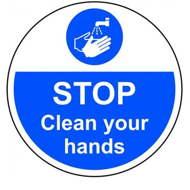 "Citec 13032 ""STOP CLEAN YOU HANDS"" Floor Graphic 400mm Diameter"