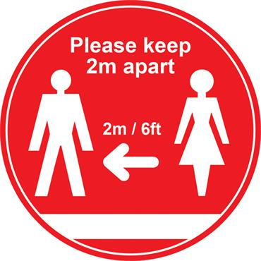 "Citec STP001 ""PLEASE KEEP 2M APART"" Floor Sign - Red 400mm"