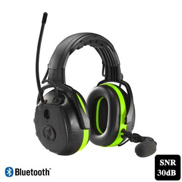 Hellberg 49012-001 Secure Synergy multi-point Earmuffs with Bluetooth, Black/Green