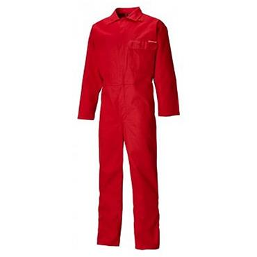 Dickies FR24/7A Flame Retardant Antistatic Everyday Coverall Boiler Suit Stud Front Red