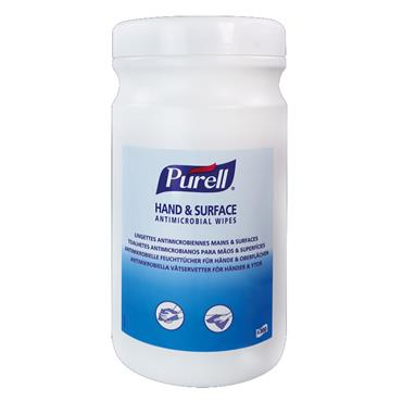 Purell 92106-06 Hand and Surface Sanitising Wipes 100 Wipes per Tub