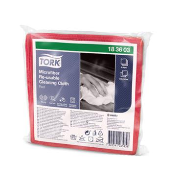 Tork Microfiber Re-Usable Cleaning Cloths, Red, 48 cloths