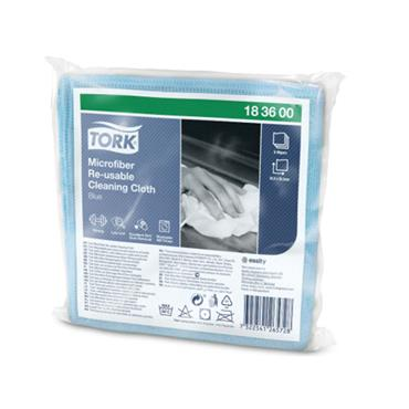 Tork Microfiber Re-Usable Cleaning Cloths, Blue, 48 cloths