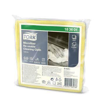 Tork Microfiber Re-Usable Cleaning Cloths, Yellow, 48 cloths