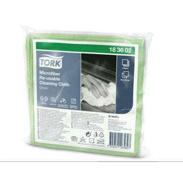 Tork Microfiber Re-Usable Cleaning Cloths, Green,  48 cloths