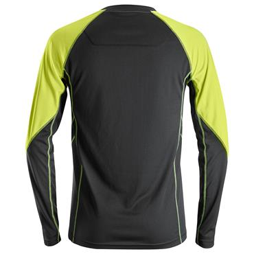 SNICKERS WORKWEAR 2405 Black / Neon Yellow Long Sleeve T-Shirt
