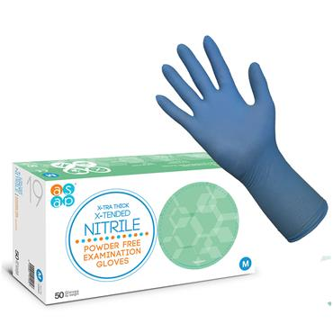 ASAP X-TRA Thick X-Tended Nitrile Powder Free Examination Gloves, Box of 50