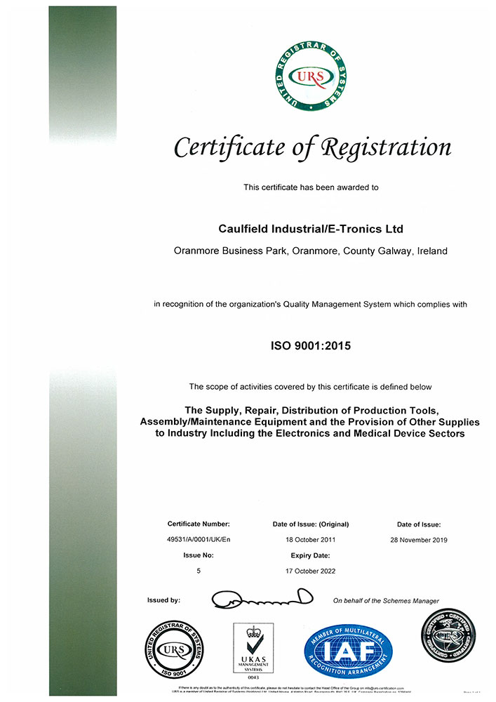 ISO9001 Certificate for Caulfield Industrial